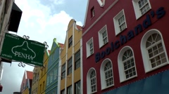 Curacao Willemstad 027 colorful Dutch facades and gables in Punda downtown Stock Footage