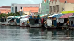 Curacao Willemstad 030 boats on floating market in Punda district Stock Footage