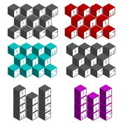 Drum and bass cubic square fonts in different colors Stock Illustration