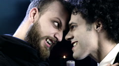 Two vampires fighting closeup Stock Footage