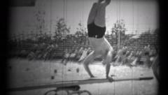 (1940's 8mm Vintage) Folks Diving into a Swimming Pool Stock Footage