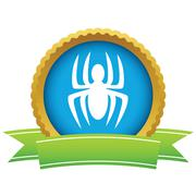 Gold spider logo - stock illustration