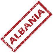 New Albania rubber stamp - stock illustration