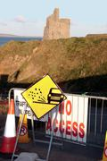 Stock Photo of no access signs to castle