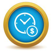 Stock Illustration of Gold clock money icon
