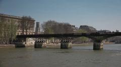 Love locks at Pont des Arts bridge, Paris - Vehicle shot Stock Footage