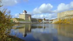 Famous old Narva castle. Stock Footage