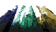 liquid splashes. the intersection of fluid flows. water snowflake. wiggle liquid - stock footage