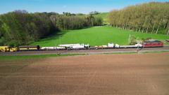 Train in the countryside - aerial shot Stock Footage