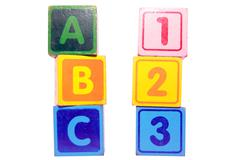 abc 123 in toy play block letters with clipping path on white - stock photo