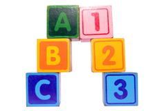 abc 123 in toy play block letters with clipping path - stock photo
