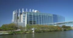 European Parliament  silhouette defocused view Stock Footage