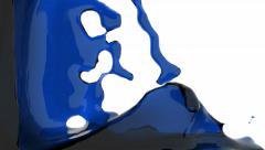 Blue fluid flows down . Pouring  screen. liquid fills screen Stock Footage