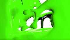 Green  fluid flows down . Pouring  screen. liquid fills screen Stock Footage