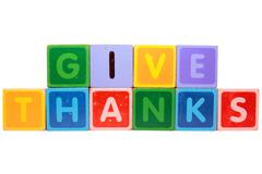 give thanks in toy block letters - stock photo