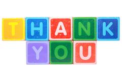 thank you in toy block letters - stock photo