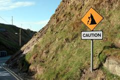 landslide risk road sign - stock photo