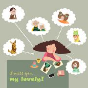 Girl thinks about her relatives - stock illustration