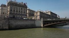 Paris sightseeing Seine river cruise - vehicle shot Stock Footage