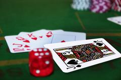 dice with the blackjack in the pack - stock photo