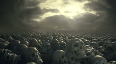 Fantasy field of skulls with overcast sky. Ancient cemetery or battleground. - stock footage