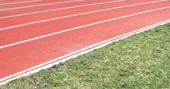 Running track with lanes , 4k view Stock Footage
