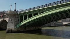 Famous Conciergerie Seine river cruise, Paris - vehicle shot Stock Footage