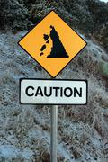 landslide sign in snow - stock photo