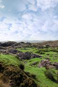 ruin in irish rocky landscape - stock photo