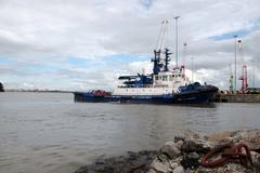 celtic rebel and banner river shannon tug boats docked - stock photo