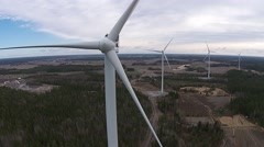 Aerial view of windturbines Stock Footage