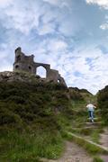 girl climbing to Mow cop castle - stock photo