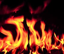 blazing open fire flames - stock photo