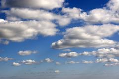 many white fluffy clouds - stock photo