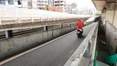 Separated highway lane for motorbike. Vehicle traffic on the lane Stock Footage