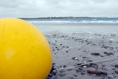 Large yellow buoy Stock Photos