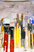 lots of various artists brushes - stock photo