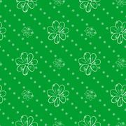 Seamless wallpaper. green polka dot background with a flowers Stock Illustration