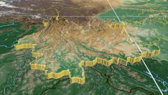 Yunnan - China province extruded. Bumps shaded. Stock Footage