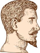 Male Goatee Side View Etching Stock Illustration