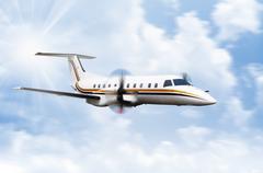 Propeller Plane Flying - stock photo