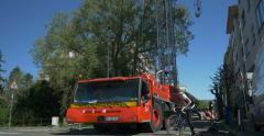 Crane working in the city - stock footage