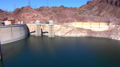 4K UHD Upperside of Hoover dam showing low water levels pan 2015 Stock Footage