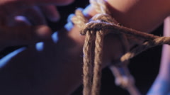 Ropes on hand - stock footage