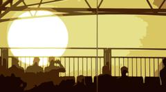Stock Illustration of Vector of an Evening Sunset with People Sitting in the foreground