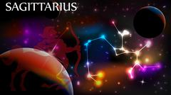 Sagittarius Astrological Sign and copy space Stock Illustration