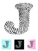 Fingerprint Alphabet Letter J - stock illustration