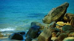 Beautiful, Boulder-Strewn, Tropical Beach in  Southern Thailand Stock Footage