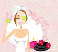 Cute woman applying moisturizer illustration Stock Illustration