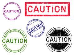 Grunge Stamps - CAUTION - stock illustration